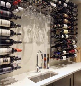 Custom Wine Cellar with Stylish Bar Area and VintageView Wine Racks