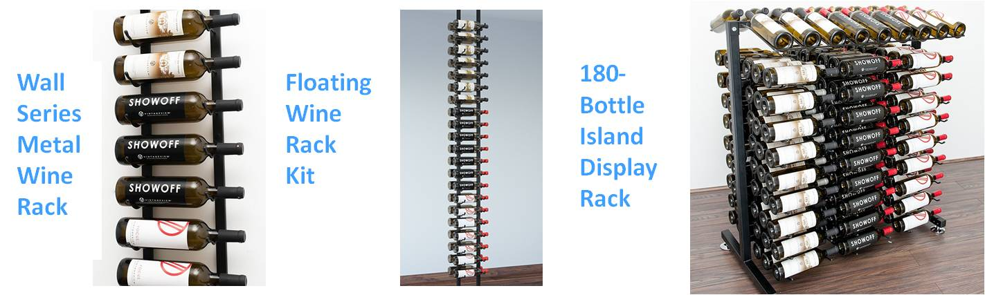 Metal Wine Rack Styles by VintageView Including the Wall Series, Floating, and Bottle Island